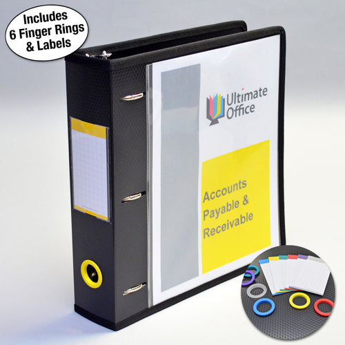 "Ultimate Office PortaFile™ View Binder 2"" Heavy-Duty D-Ring Binder Features Locking Cover, Sewn Nylon Edges, 6 Color Rings and Matching Labels and 2 Large Interior Pockets for Loose Papers (1 each), Black"