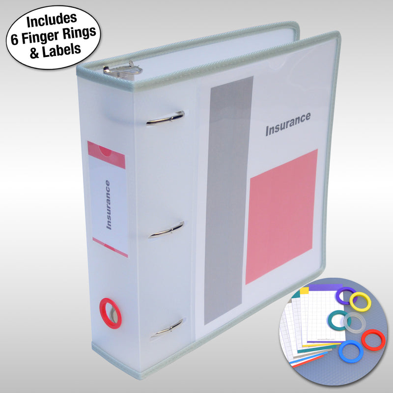 "Ultimate Office PortaFile™ View Binder 2 1/2"" Heavy-Duty D-Ring Binder Features Locking Cover, Sewn Nylon Edges, 6 Color Rings and Matching Labels and Large Interior Pockets for Loose Papers (1 each), Frost"