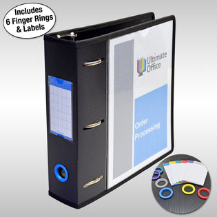 "Ultimate Office PortaFile™ View Binder 2 1/2"" Heavy-Duty D-Ring Binder Features Locking Cover, Sewn Nylon Edges, 6 Color Rings and Matching Labels and Large Interior Pockets for Loose Papers (1 each), Black"