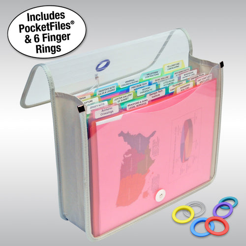 Ultimate Office PortaFile Expanding File Wallet Document Organizer, Letter Size. Complete Portable File Management System Includes 25 Removable, 5th-Cut PocketFile File Folders and 6 Color File Rings for Fast File Identification, Frost