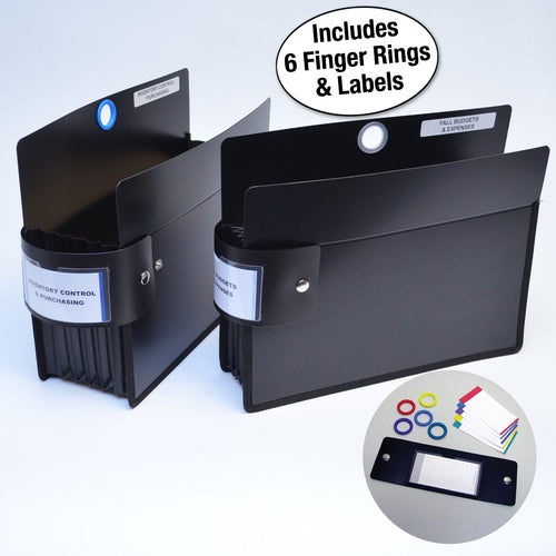 "Ultimate Office PortaFile™ Expanding File Pockets, Straight-Cut Letter Size, Expand up to 5 1/4"", Heavy-Duty Poly with Silicone Gussets, Sewn Edges, and Color Labels and Rings (set of 2)"