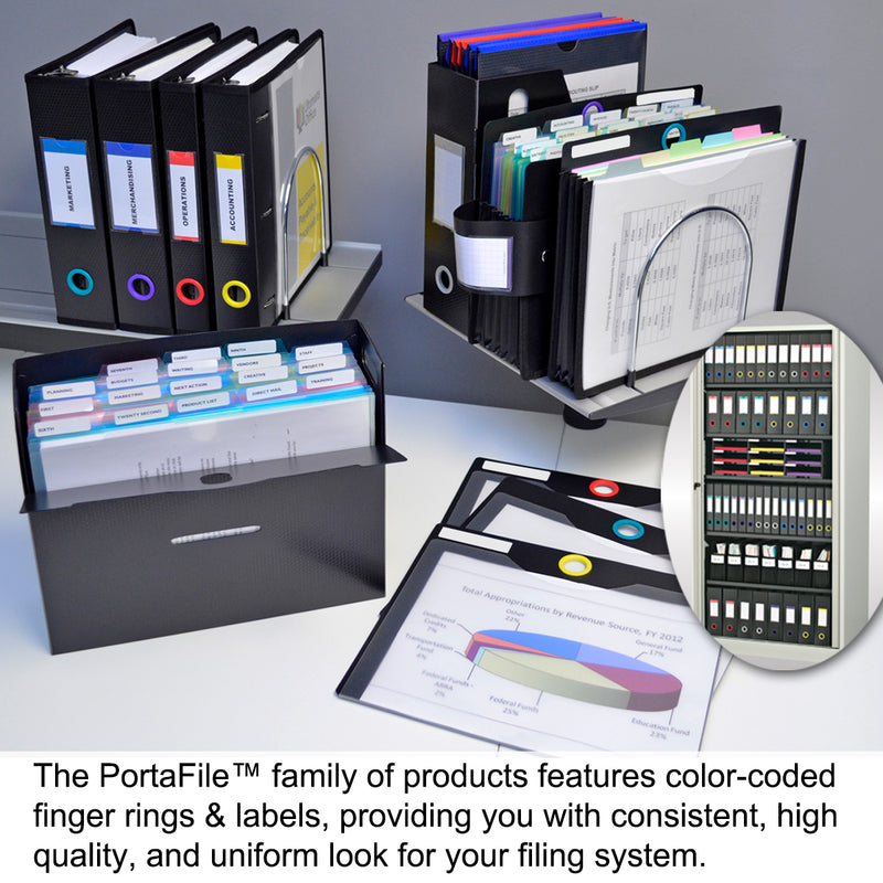 "Ultimate Office PortaFile™ PortaFile Project Box Document Organizer Includes 25, 5th Cut PocketFiles, 6 Color Coding Rings and Labels 3 5/8"" D"