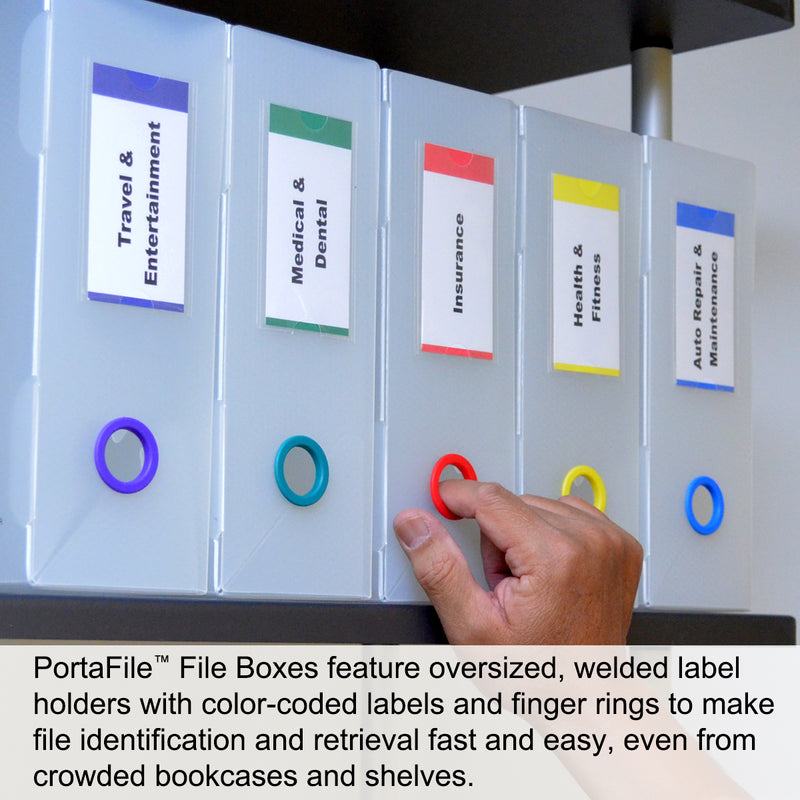 "Ultimate Office PortaFile™ Frost File Box 3 5/8""d Storage Organizer for Folders, Hanging Files or Loose Documents. Heavy Duty Polypropylene with 6 Color Rings, Matching Labels and Fold Down Front Flap for Easy Access, with 25 PocketFiles"