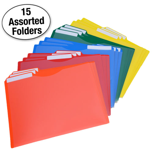 Heavy-Duty Project Files, 3rd-Cut, Letter, Assorted (pack of 15)
