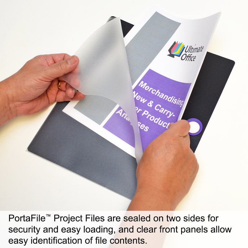 Ultimate Office PortaFile™ Clear-Front Document Folder Project Pockets, Letter Size. Heavy-Duty Files with Color-Coded Rings and Adhesive Labels (set of 5)