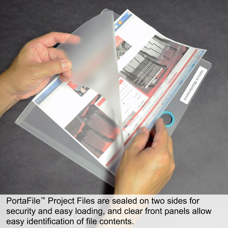 Ultimate Office PortaFile™ Frost Document Folder Project Pockets, Letter Size. Heavy-Duty Files with Color-Coded Rings and Adhesive Labels (set of 5)