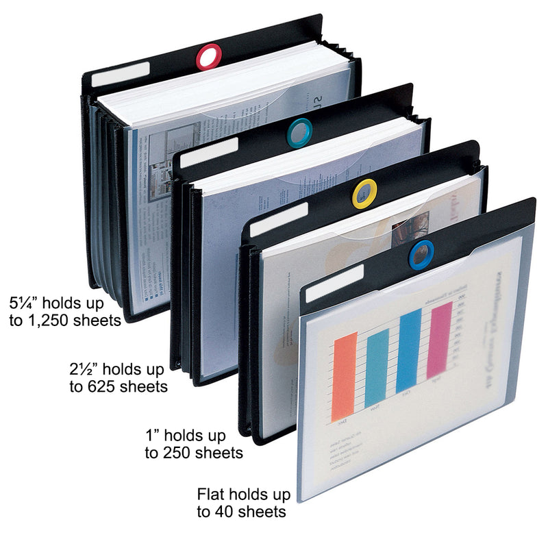 Ultimate Office PortaFile™ Flat File Jackets, Letter Size with Color-Coded Rings and Adhesive Labels for Fast Identification and Easy Access (Set of 5)