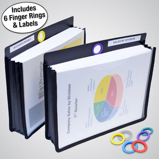 "Ultimate Office PortaFile™ 2 1/2"" Expanding File Jackets, Letter Size with Silicone Gussets, Sewn Nylon Edges, Color-Coded Rings and Adhesive Labels (Set of 2)"