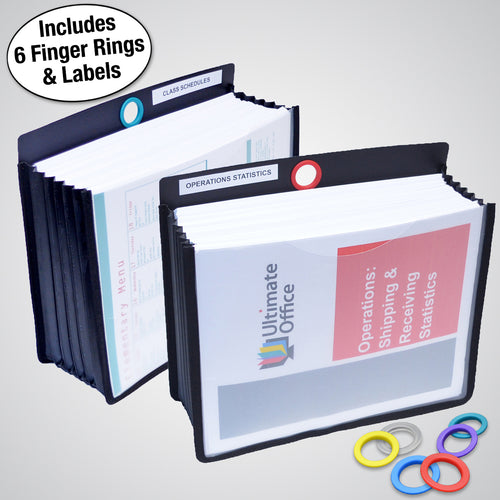 "Ultimate Office PortaFile™ 5"" Expanding File Jackets, Letter Size with Silicone Gussets, Sewn Nylon Edges, Color-Coded Rings and Adhesive Labels (Set of 2)"