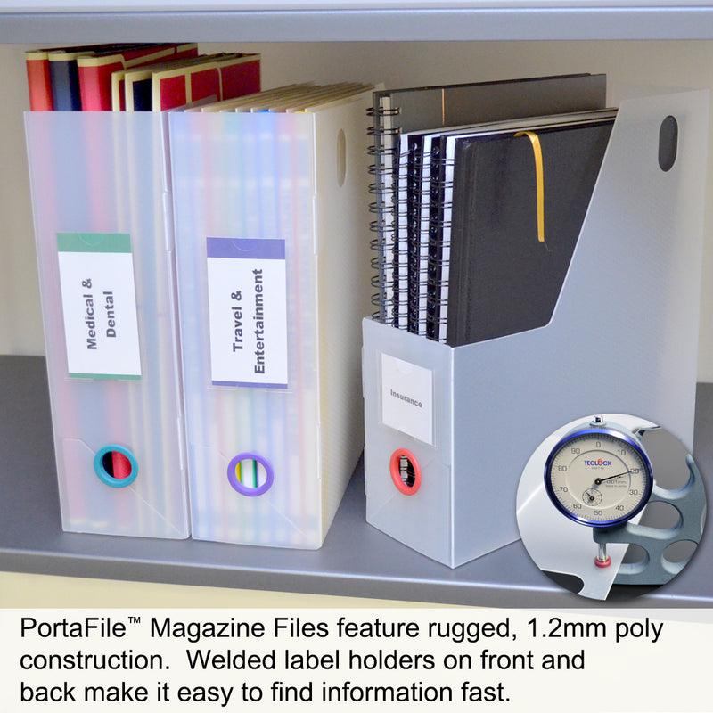 Ultimate Office PortaFile™ Magazine File Vertical File Organizer Box, Ideal for Magazines, Notebooks & File Storage, Includes 6 Color Finger Rings, Labels and a Lifetime Guarantee (set of 3), Frost