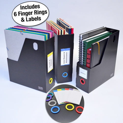 Ultimate Office PortaFile™ Magazine File Vertical File Organizer Box, Ideal for Magazines, Notebooks & File Storage, Includes 6 Color Finger Rings, Labels and a Lifetime Guarantee (set of 3), Black