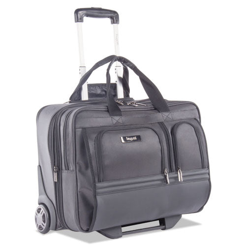 "Polyester Business Case on Wheels w/Padded Computer Compartment, 15"" x 13 3/4"" x 10"", Black"