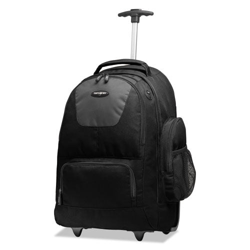 "Rolling Backpack w/Removable Laptop Sleeve.  Holds Laptops up to 15 1/2"", 14"" x 22"" x 9"", Black w/Charcoal"