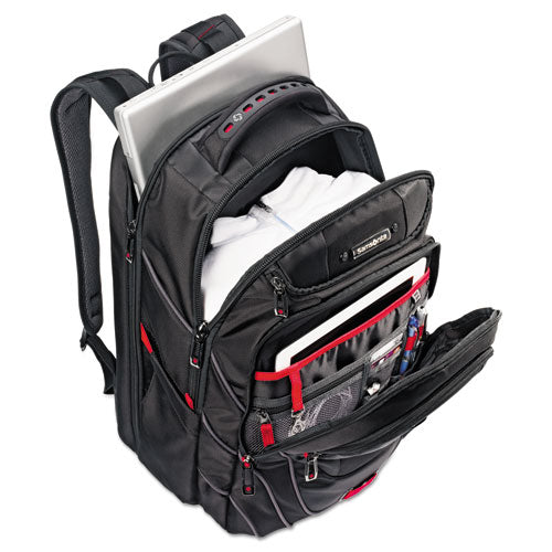 "Tectonic Backpack holds Laptops up to 17"", 13"" x 18"" x 9"", Black w/Red"