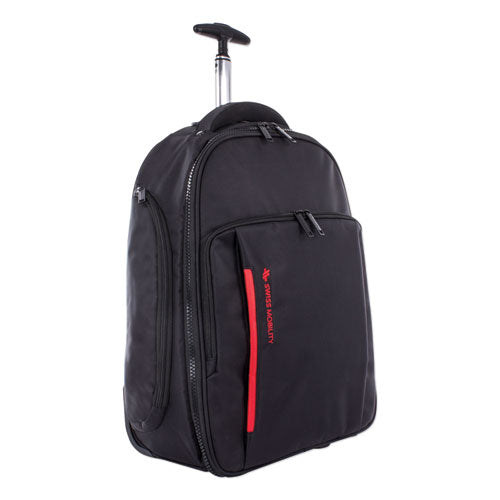 "Stride Rolling Backpack holds Laptops up to 15 1/2"", 18"" x 21 1/2"" x 10"", Black"