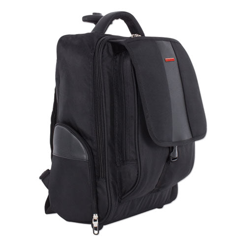 "Litigation Rolling Backpack holds Laptops up to 15 1/2"", 15"" x 20"" x 9"", Black"