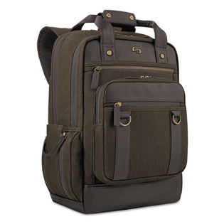 "Bradford Backpack holds Laptops up to 15 1/2"", 12"" x 17"" x 7"", Olive Denim w/Espresso"