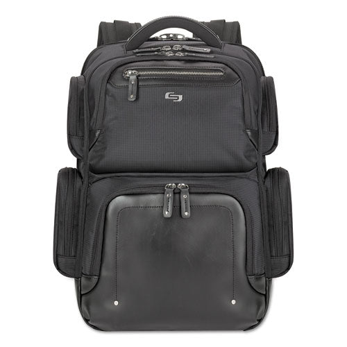 "Lexington Polyester Backpack holds Laptops up to 15 1/2"", 16 1/2"" x 18 1/2"" x 8"", Black"