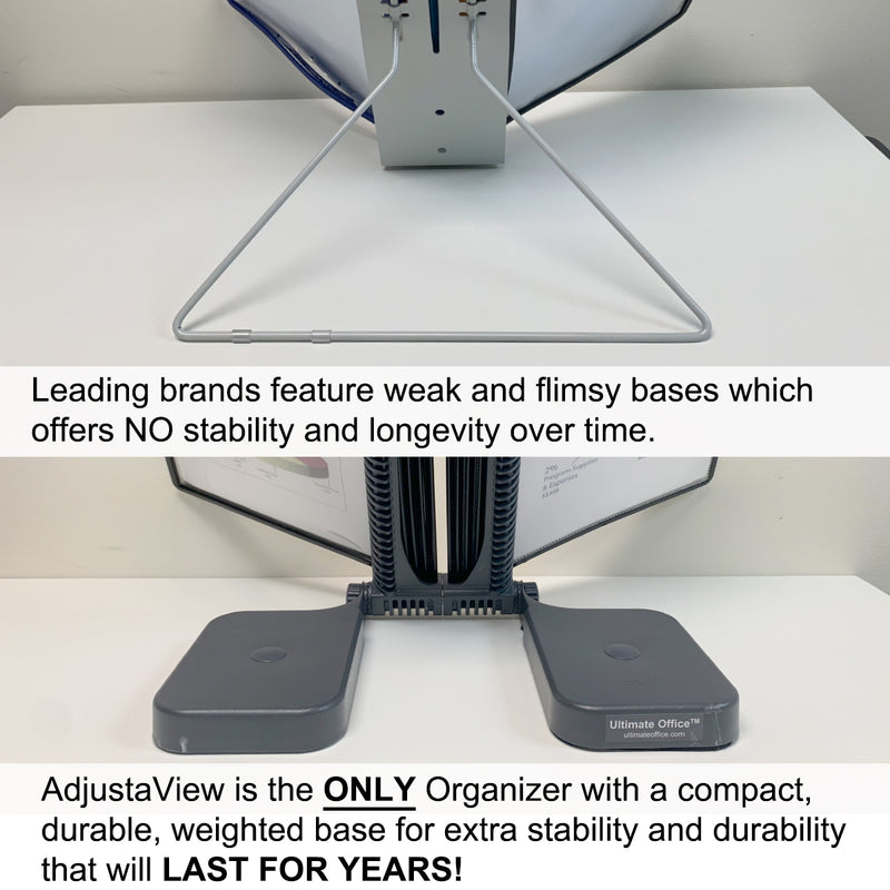 Ultimate Office AdjustaView® 10-Pocket Desk Reference Organizer with Easy-Load Pockets and Compact Weighted Base for Stability