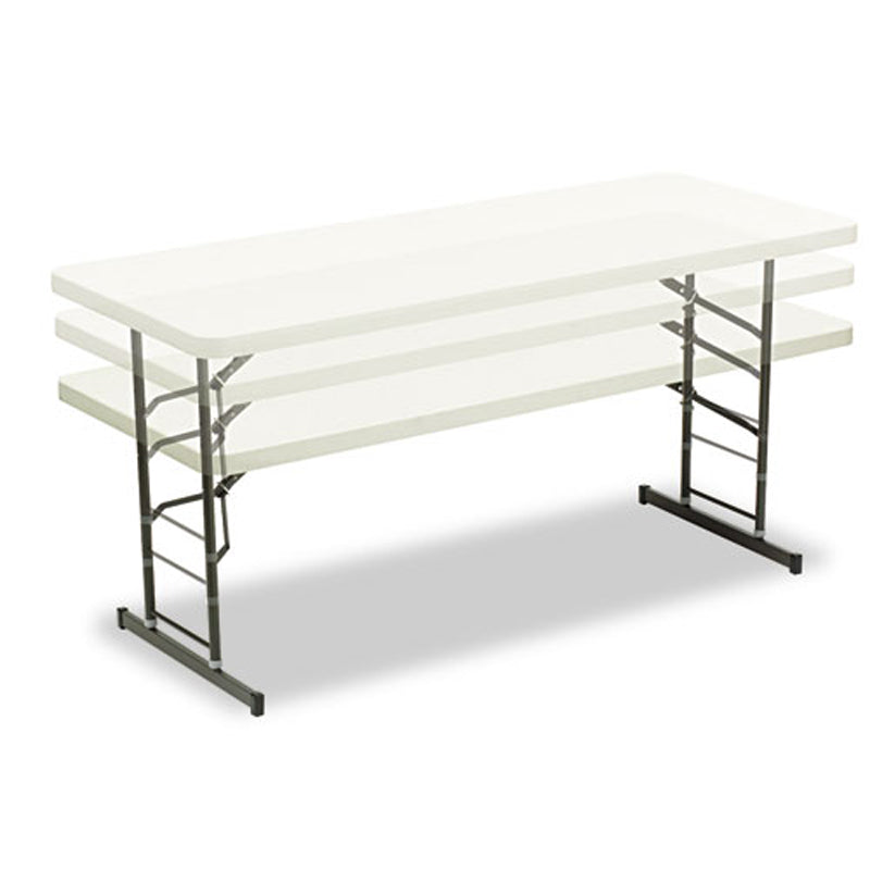 "Adjustable-Height Folding Table, 72""w x 30""d x 25-35""h"