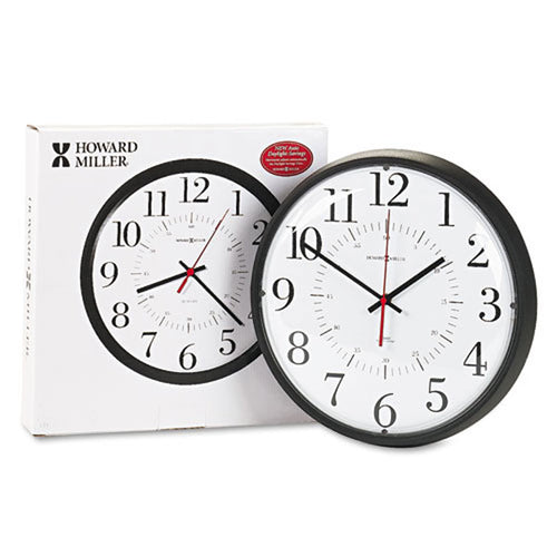 "Alton Auto Daylight Savings 14"" Wall Clock, Black"