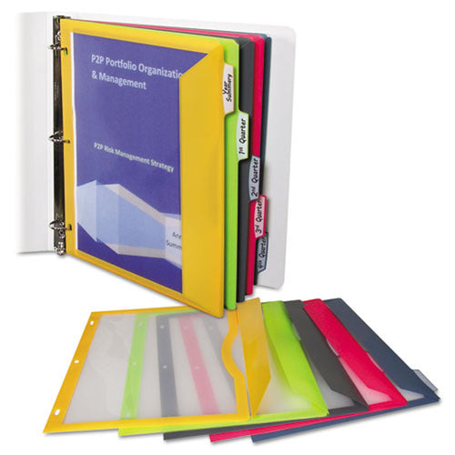 """Poly Ring Binder Pockets, 9"""" X 11 1/2"""", Clear (3"""
