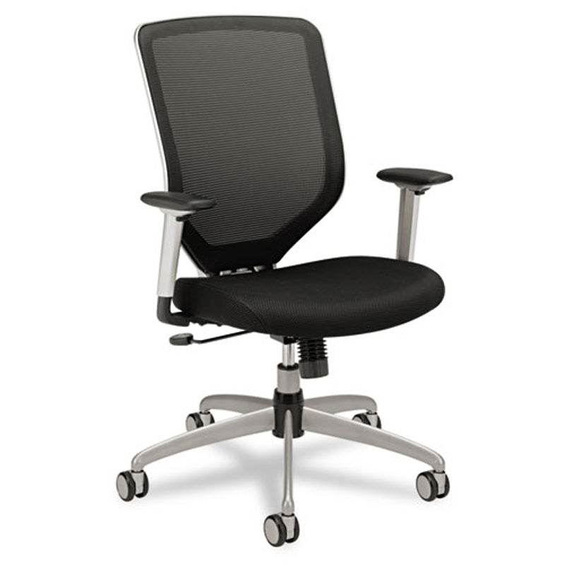 Boda Mesh/Padded Mesh High-Back Work Chair, Titanium w/Black