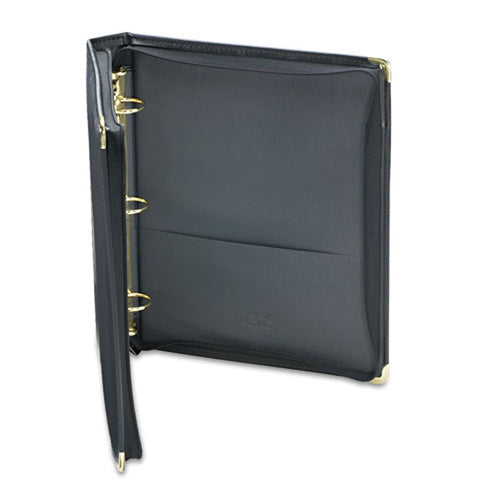 "Classic Collection Round Ring Zippered Binder, 1 1/2"", Black"