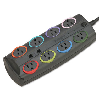 Color-Coded 8-Outlet Surge Protector for Adapters (3,090 Joules)