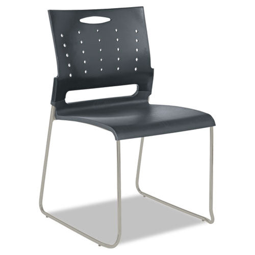 Continental Plastic Perforated Back Sled Base Stack Chair, Pewter w/Charcoal (set of 4 chairs)