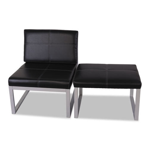 Cube Chair, Silver w/Black Leather