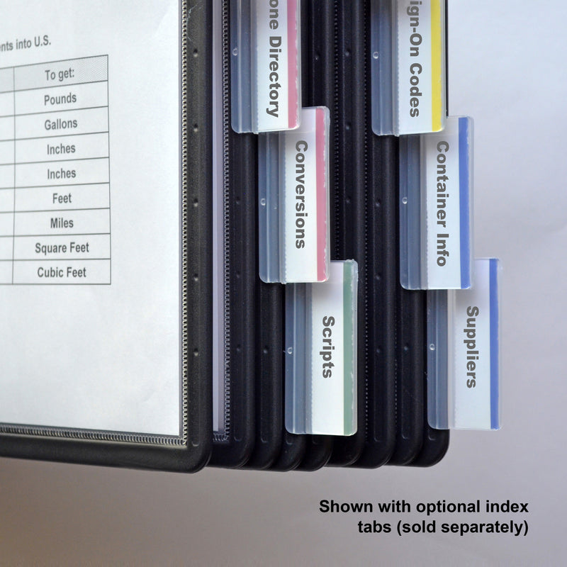 Ultimate Office Deluxe Reference Organizer Pockets with Easy-Load Pockets, Steel-Reinforced Pins (set of 5) - Black