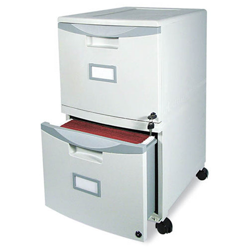 "Double File Drawer Mobile Pedestal, 18 1/4""d, Plastic"