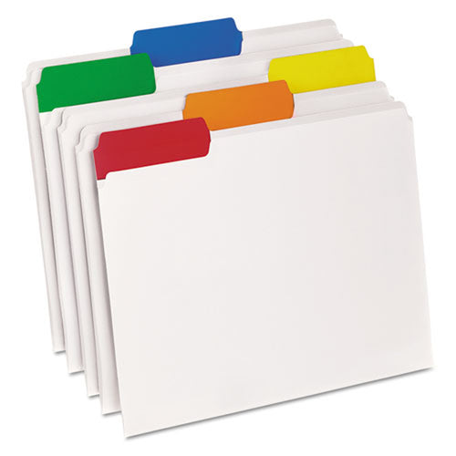 EasyView Poly File Folders, 1/3rd-Cut, Letter, Clear w/ Assorted Tabs (box of 25)