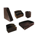 Eco-Friendly Bamboo 3-Section Desk Organizer, Espresso Brown
