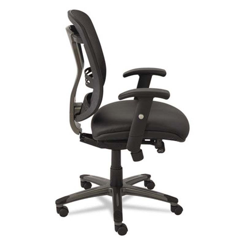 Eon Multifunction Mid-Back Leather/Mesh Chair, Black w/Black