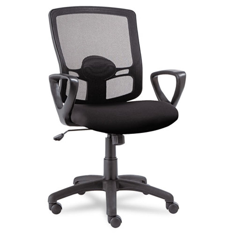 Etros Mesh Mid Back Chair, Black W/Black