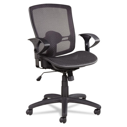 Etros Suspension Mesh Mid-Back Synchro Tilt Chair, Black w/Black
