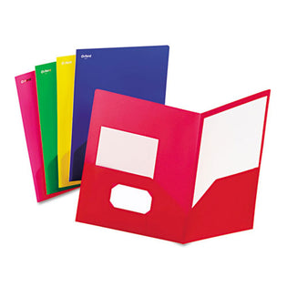 Fashion Polypropylene Twin Pocket Folders, Box of 25, Assorted (Blue, Green, Pink, Red, Yellow)