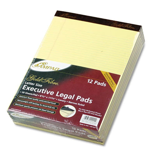Gold Fiber Watermarked Writing Pads, Narrow Rule, Letter 16# Paper, Canary (12-pack, 50 sheet pads)