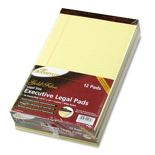 Gold Fiber Watermarked Writing Pads, Wide Rule, Legal , 16# Paper, Canary (12-pack, 50 sheet pads)