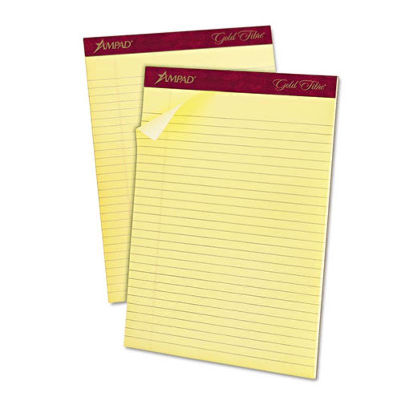 Gold Fiber Watermarked Writing Pads, Wide Rule, Letter Size, 16# Paper (12-pack, 50 sheet pads)