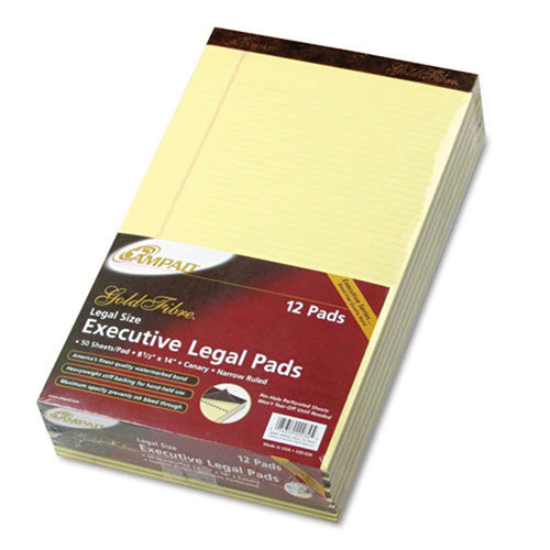 Gold Fibre Watermarked Writing Pads, Narrow Rule, Legal, 16# Paper, Canary (12-pack, 50 sheet pads)