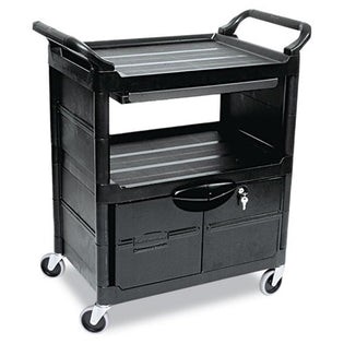 Heavy-Duty Polypropylene Utility Cart with Drawer and Locking Cabinet, Black