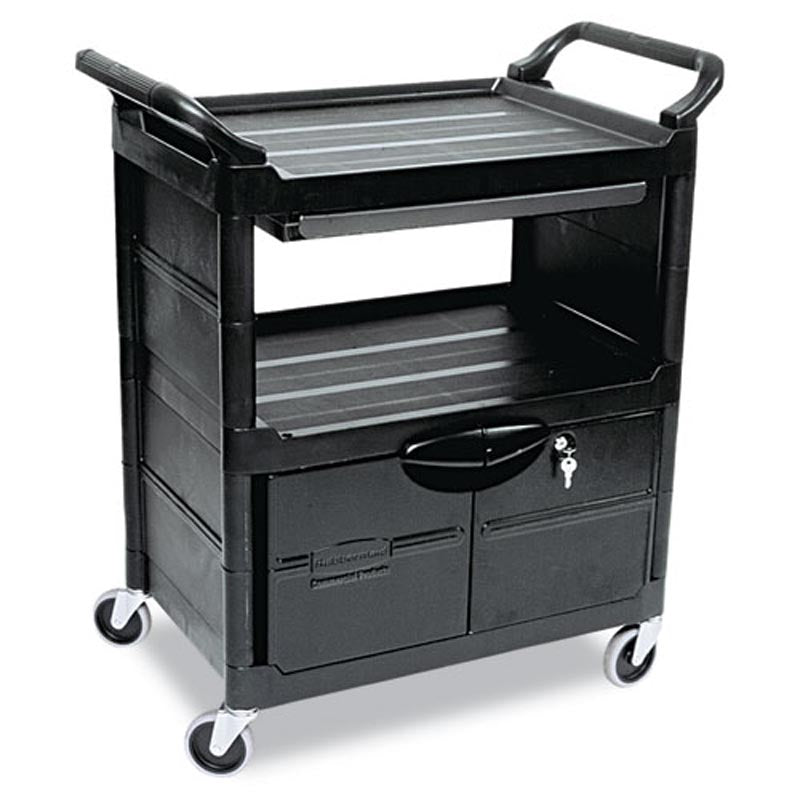 Beau Heavy Duty Polypropylene Utility Cart With Drawer And Locking Cabinet, Black