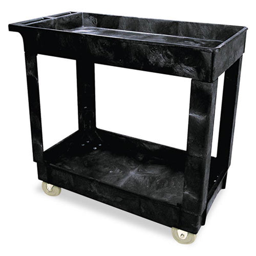 Heavy-Duty Raised Edge Service/Utility Cart, Black