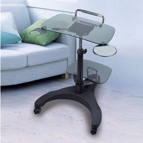 Height-Adjustable Laptop Desk with Printer Platform (Glass Platforms)