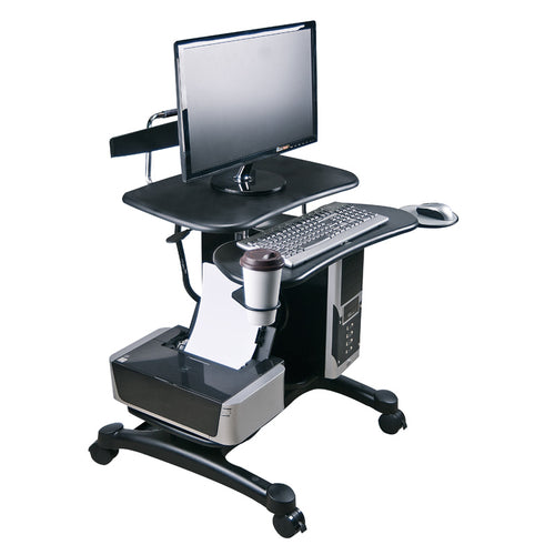 Height-Adjustable PC Workstation w/CPU & Printer Platforms (ABS Platforms)