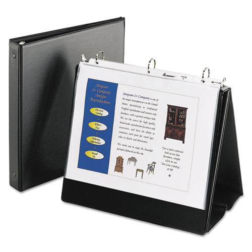 "Horizontal Round Ring Easel Binder w/ 8 Sheet Protectors, 1"", Black"