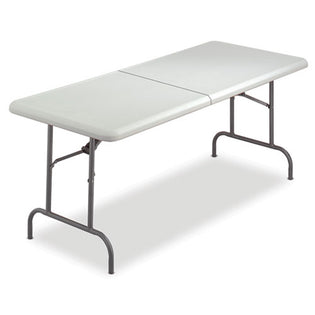 "Indestructable Bi-Fold Rectangular Blow Molded Resin Folding Table, 60""w x 30""d x 29""h, Platinum"